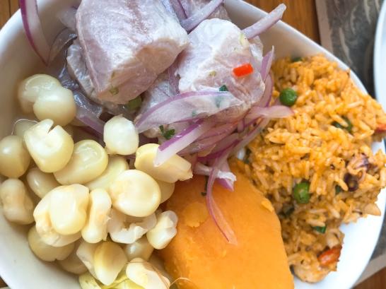 Duo: Ceviche con arroz con Mariscos